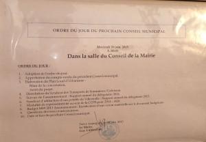 Ordre du jour du Conseil Municipal